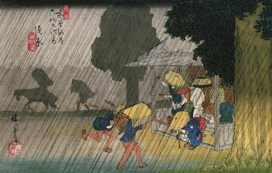 Hiroshige people seeking shelter from the rain 1528088690